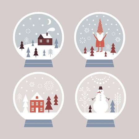 Snow globes set, Christmas illustration