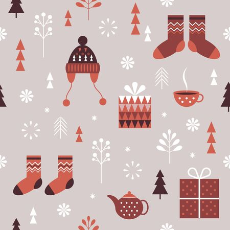 Seamless Christmas pattern. Stylized Christmas gift boxes, snowflakes, knitted hats, socks. Idea for fabric, tablecloth pattern, wrapping paper, gift paper Illustration