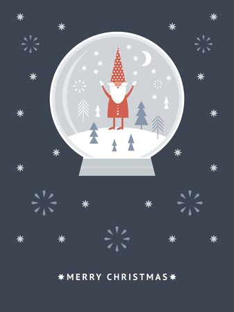 Christmas card. Funny Christmas Gnome in a snow globe. Illustration