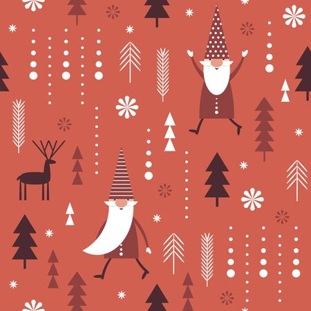 Seamless Christmas pattern. Stylized Christmas trees, snowflakes, Christmas deers, cute gnomes. Idea for fabric, tablecloth pattern, wrapping paper, gift paper etc.