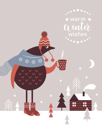 Christmas card. Cute bird in knitted scarf with cap of hot tea. Little house, cozy wintery scene