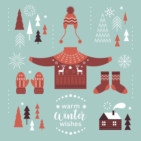Winter graphic design elements set. Knitted sweater with deers, socks and mittens. Cozy little house. Warm Christmas wishes .
