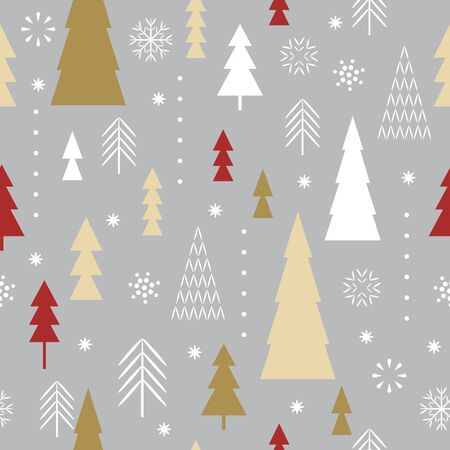 Seamless Christmas pattern. Stylized Christmas trees, snowflakes. Idea for fabric, tablecloth pattern, wrapping paper, gift paper