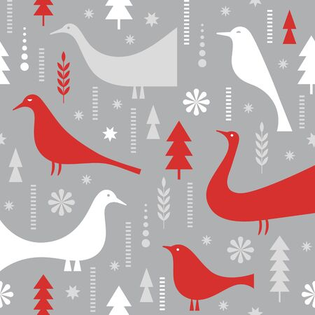 Seamless Christmas pattern. Stylized birds, snowflakes, trees. Idea for fabric, tablecloth pattern, wrapping paper, gift paper