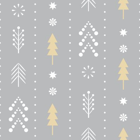 seamless Christmas pattern with stylized snowflakes and trees in one color blue