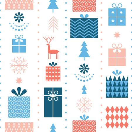 Seamless Christmas pattern . Stylized Christmas gift boxes, snowflakes, trees. Idea for fabric, tablecloth pattern, wrapping paper, gift paper