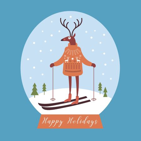 Christmas card, deer in warm knitted sweater ski