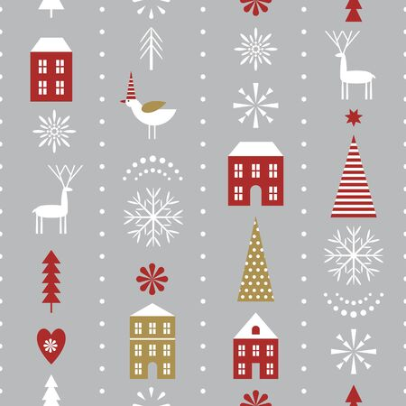 seamless Christmas pattern with stylized snowflakes, houses, deers and trees, fabric design or gift paper, wrapping print