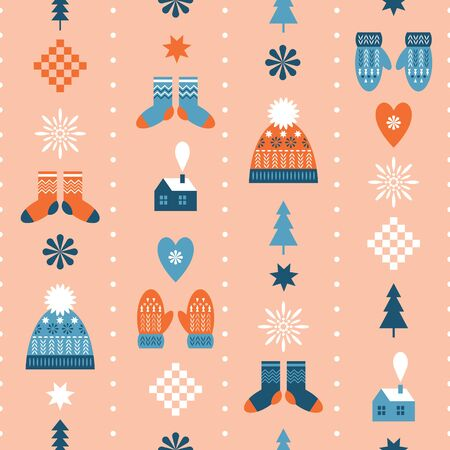seamless christmas background, winter knitted hats, mittens and socks