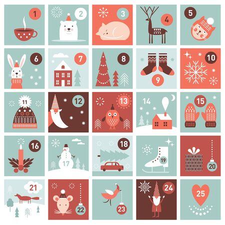 Calendrier de l'Avent de Noël. Collection d'images de collection imprimable. Vecteurs