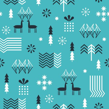 Seamless Christmas pattern with stylized snowflakes, deers, trees, geometric shapes, fabric design or gift paper, wrapping print Illusztráció