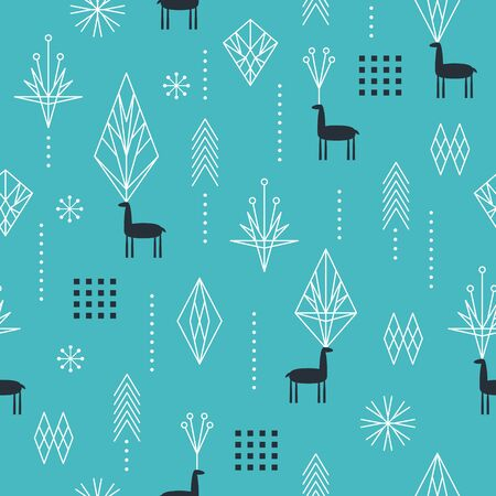 Seamless Christmas pattern with stylized snowflakes, deers and geometric shapes, fabric design or gift paper, wrapping print Ilustracja