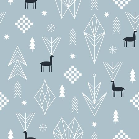 Seamless Christmas pattern with stylized snowflakes, deers and geometric shapes, fabric design or gift paper, wrapping print Illusztráció