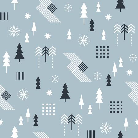 Seamless Christmas pattern with stylized trees and geometric shapes, fabric design or gift paper, wrapping print Ilustracja