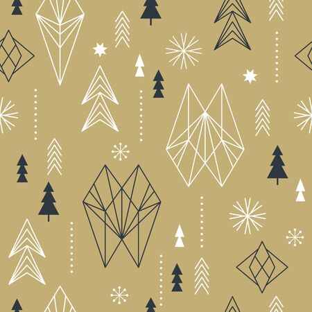 Seamless Christmas pattern with stylized snowflakes, trees, geometric shapes, fabric design or gift paper, wrapping print