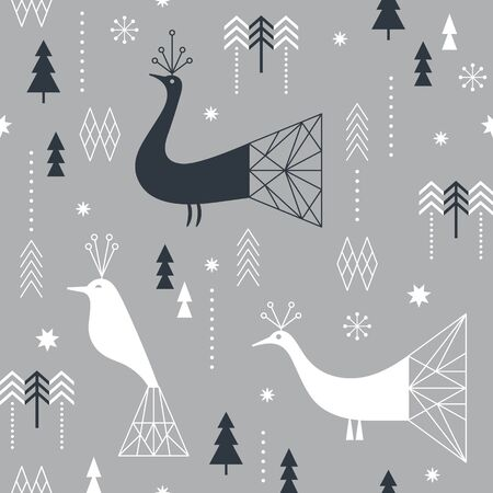 Seamless Christmas pattern with stylized snowflakes, birds and geometric shapes, fabric design or gift paper, wrapping print Illusztráció