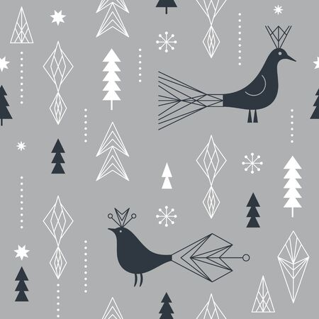 Seamless Christmas pattern with stylized snowflakes, birds and geometric shapes, fabric design or gift paper, wrapping print Ilustracja