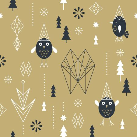 Seamless Christmas pattern with stylized snowflakes, cute birds owls and geometric shapes, fabric design or gift paper, wrapping print Illustration