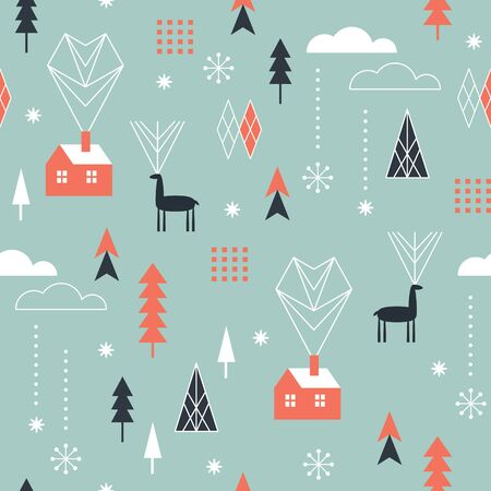 Seamless Christmas pattern with stylized snowflakes, winter houses, deers and geometric shapes, fabric design or gift paper, wrapping print