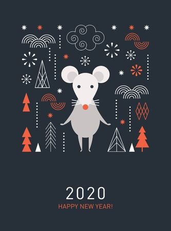 Happy Chinese new year. Cute mouse, decor elements, chinese lanterns, banner concept, greeting card