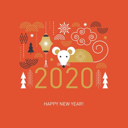 Happy Chinese New Year. Cute mouse, stylized geometric trees, decor elements, banner concept, greeting card