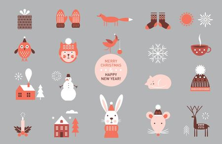 set of vector cartoon elements and characters, icons, winter theme Illustration