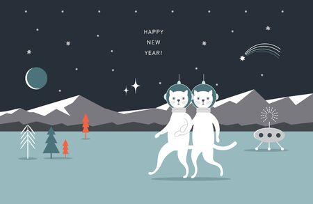 Coppia di gatti su un altro pianeta. Paesaggio cosmico. Poster, biglietto di auguri, design banner orizzontale
