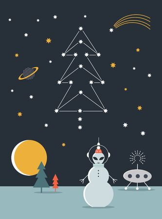 Snowman on another planet.Happy Cosmic Holidays. Space illustration.