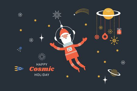 Happy Cosmic Holidays. Space illustration. Santa in outer sapce. New Years greeting card