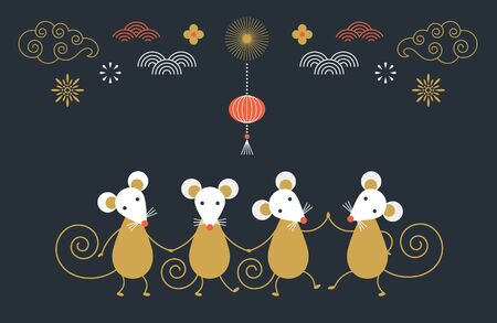 Happy Chinese new year. Cute dancing mouses,  banner concept, greeting card
