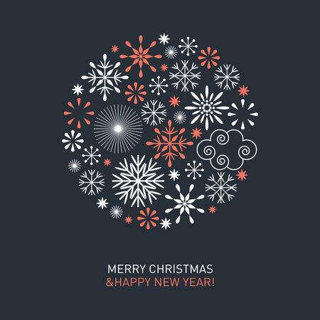 Frohe Weihnachten Weihnachtskarte. Schöne Schneeflocken