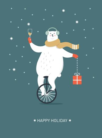 Christmas Card, Seasons greetings, Polar bear is going by monocycle