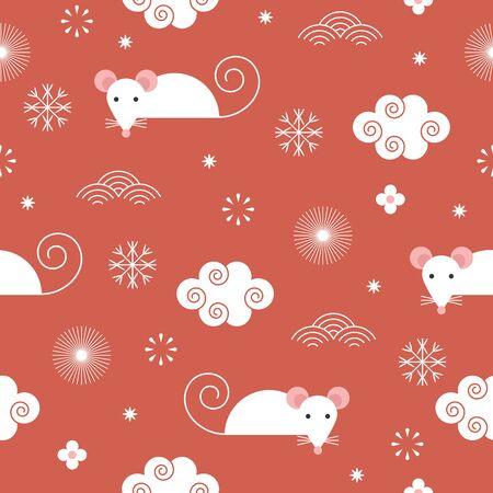 Patrón de año nuevo sin costuras, lindos ratones