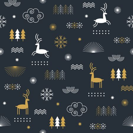 Seamless Christmas pattern with stylized snowflakes, deers, trees, fabric design or gift paper, wrapping print 向量圖像