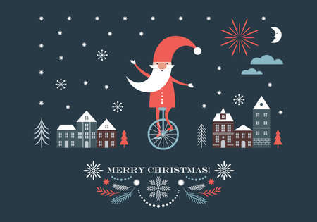 Christmas Gnome is going by on unicycle, Christmas illustration, Greeting card