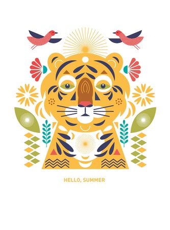 Tiger stylized illustration. Greeting or invitation card. Banner, poster , flyer template. Birthday card. Flat ornamental design, cover design