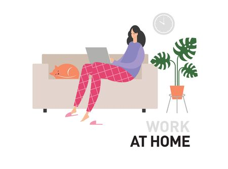 Work at home, Vector illustration, flat style, young woman at home in quarantine Illustration