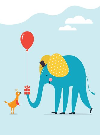 Greeting card design. Children illustrations style. Happy Birthday card . Good for other events. Have a nice day card. Gift card. Cute little bird and big elephant.