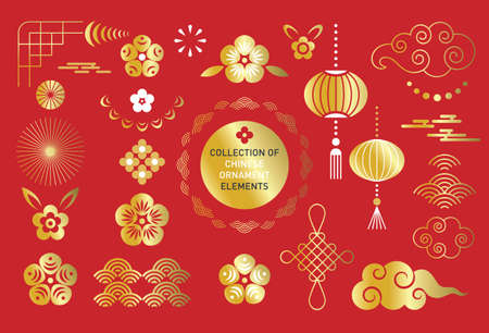 Big Collection of chinese ornaments elements on red background Ilustrace