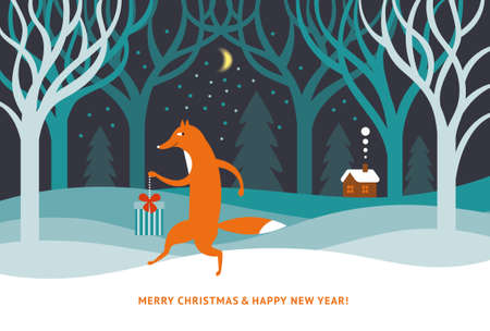 Merry Christmas and Happy new year - Greeting card, banner. Poster design. Cute fox in the winter forest 向量圖像