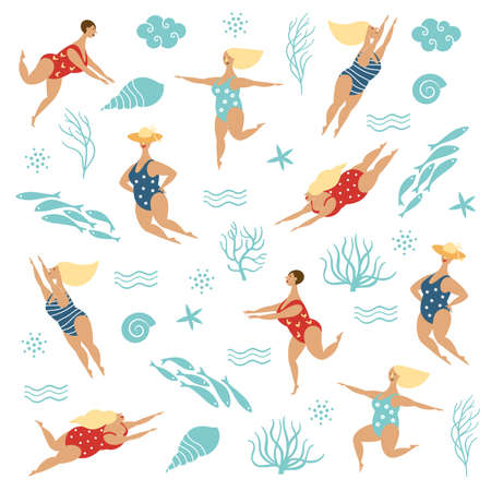 Five funny cute plump women in swimsuits, Vector illustration on white background