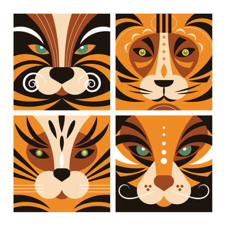 Set of Tigers in flat style design