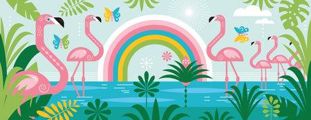 Flamingo, rainbow, palm leaves. Vektorgrafik