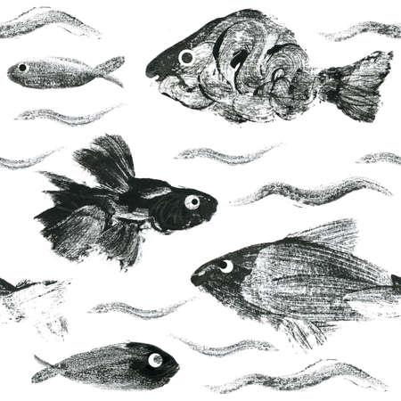 Seamless pattern. Hand drawn fishes. Ink on white background