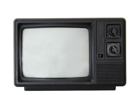 visible: Old television; scratches visible Stock Photo