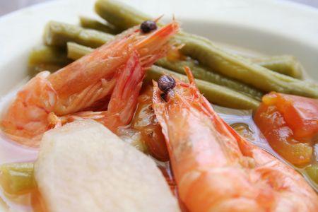 Tamarind Soup (Sinigang) with Shrimp Stock Photo