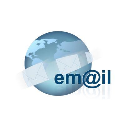 detail internet computer: Email Icon on white Stock Photo
