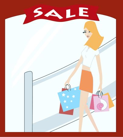 priced: Young woman shopping - illustration