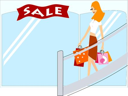 Young woman shopping illustration
