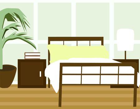 hardwood flooring: Bedroom Illustration